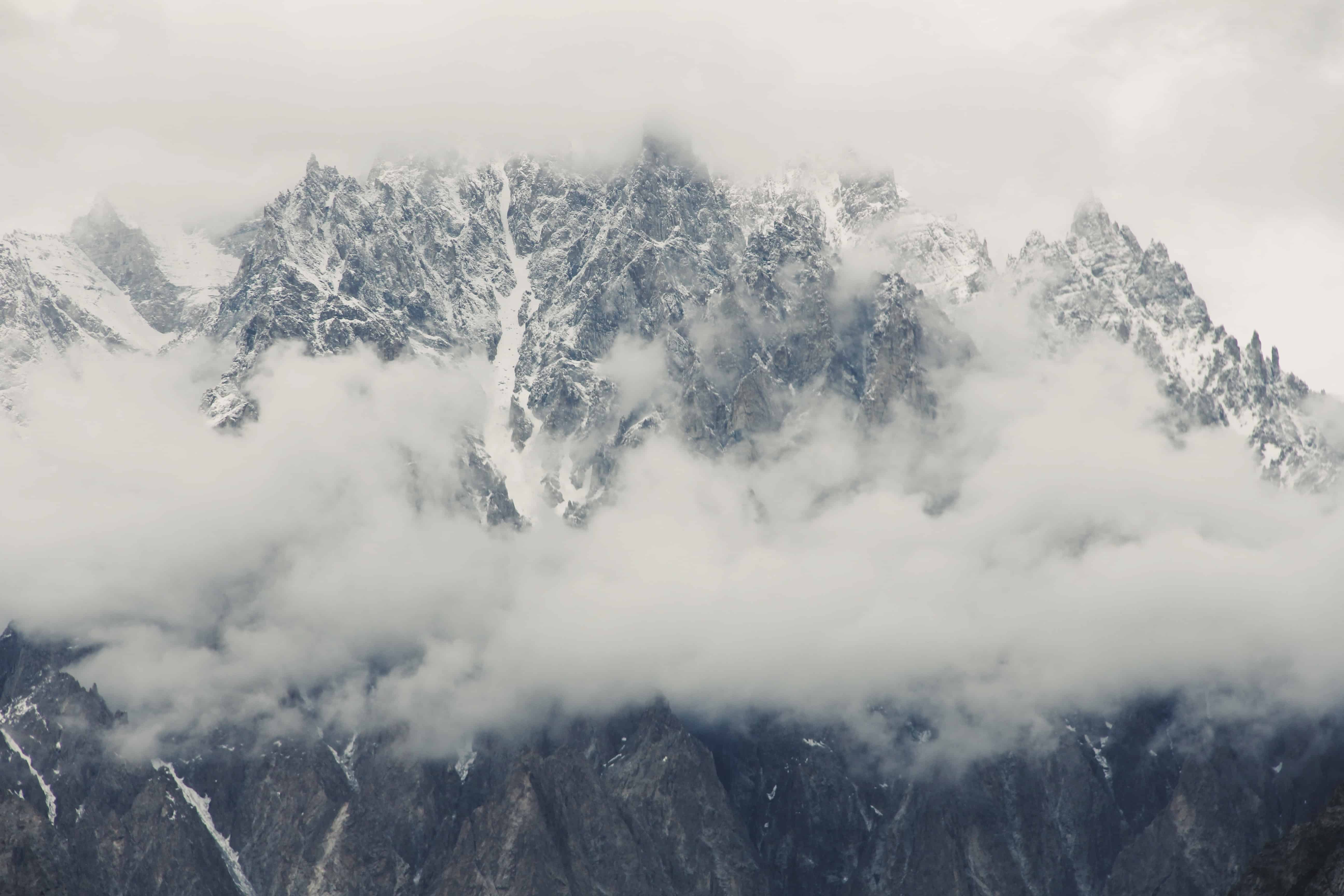 Passu glaciers on a cloudy day northern areas Hunza Valley Pakistan