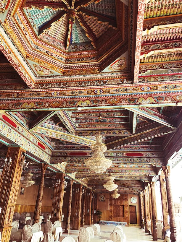Beautiful tiled roof of a Tajikistan tea house