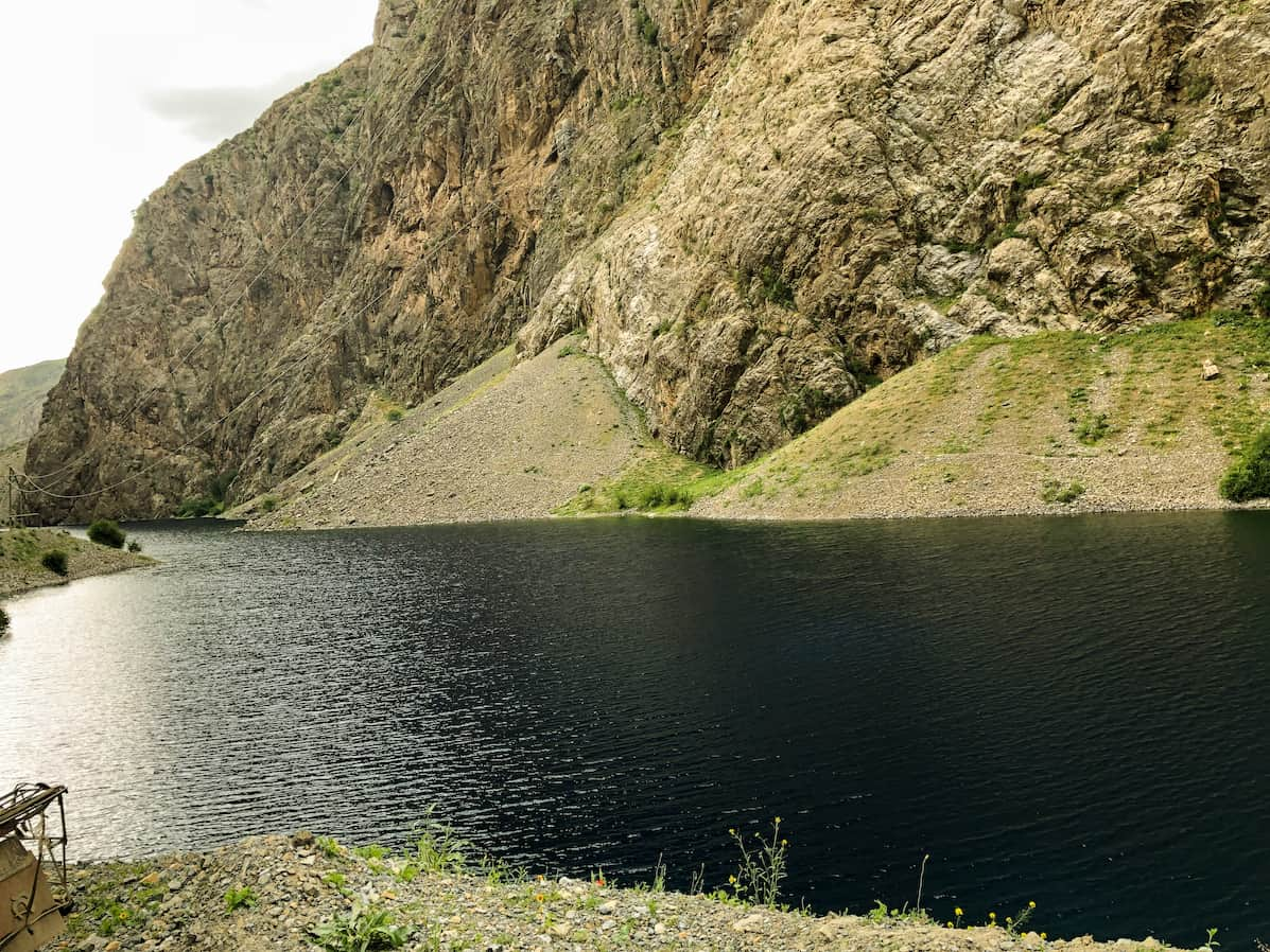 Deep blue lake, one of Tajikistan's seven lakes