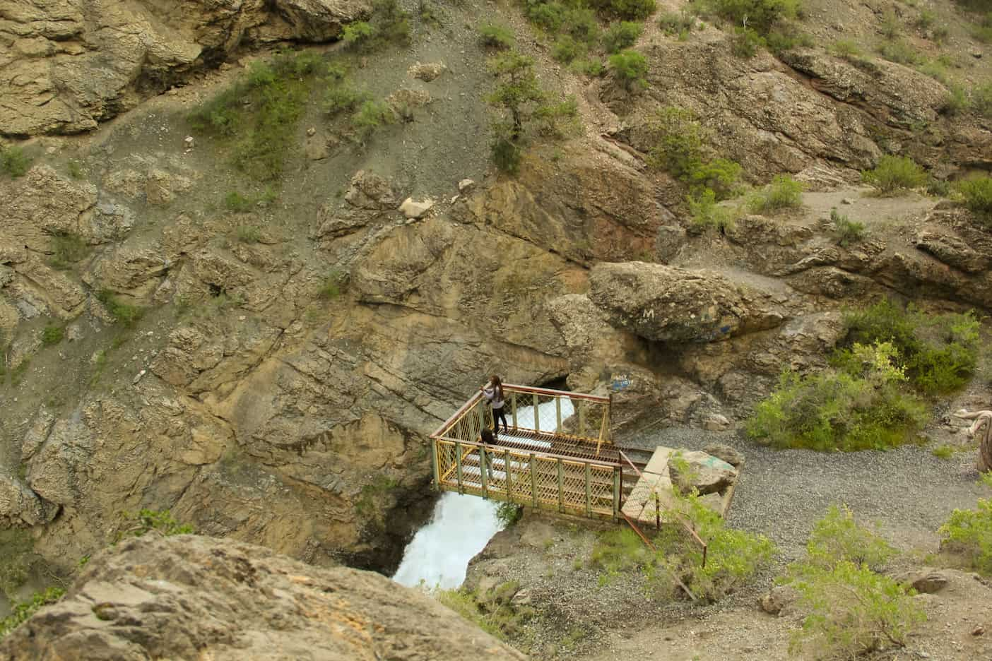 bridge over the waterfall near Iskanderkul Lake in Tajikistan