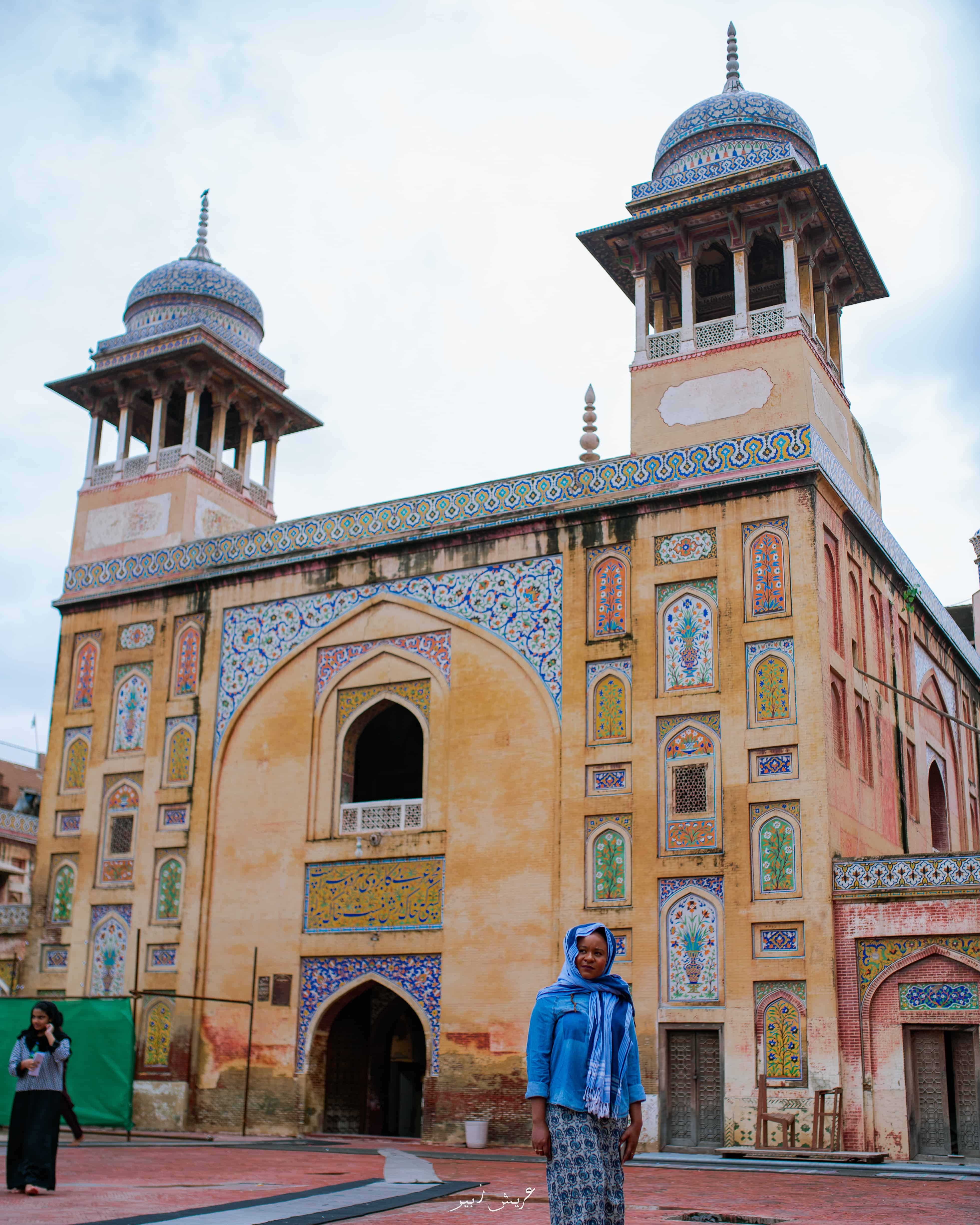 Front view of the Wazir Khan mosque in Lahore Pakistan