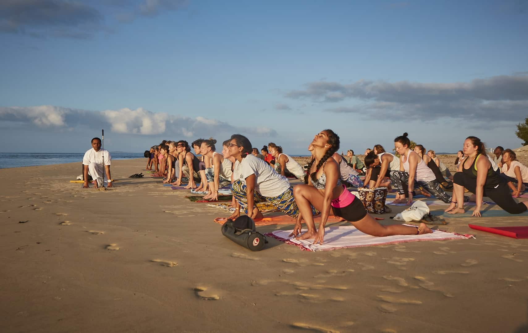 group yoga session in Shela island Lamu