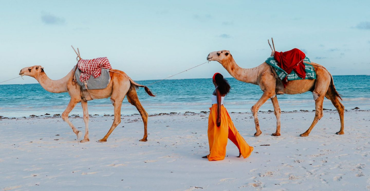 Camel rides at Nomad Beach Kenya