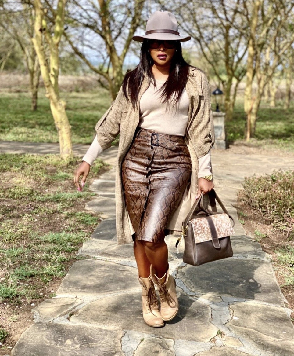 safari themed leather skirt